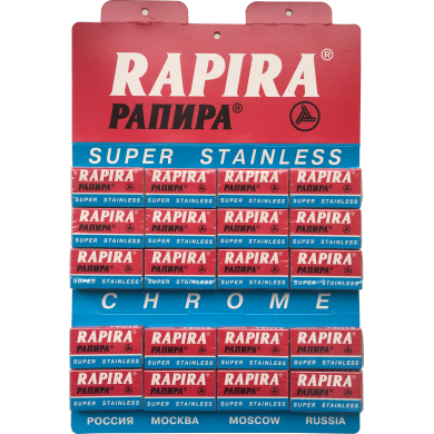 100pcs Rapira Chrome Super Stainless Razor Blades